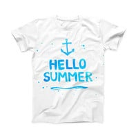 The Hello Summer Blue Watercolor Anchor V1 ink-Fuzed Front Spot Graphic Unisex Soft-Fitted Tee Shirt