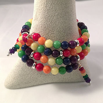 Rainbow Jade Memory Wrap Bracelet, Rainbow Jade Colors with Silver Accents - Boho Chic - Trending Womens Jewelry