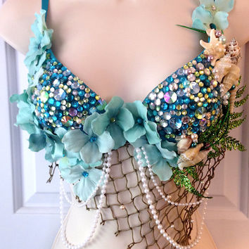Blue Green Mermaid Rave Bra - 34B or Custom Order