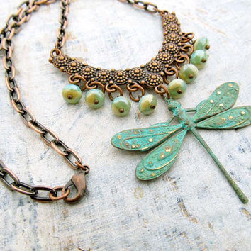 Dragonfly Necklace bohemian patina copper jewelry