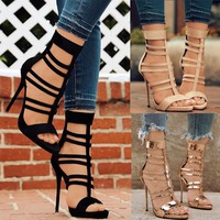 Womens Peep Toe Shoes Thin Stilettos High Heel Pumps Ankle Strap Bandage Sandals