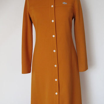 LACOSTE DRESS FRENCH / Vintage / Dress / Long sleeves / Orange / Crocodile / 1960 / 60s / Fashion / Retro