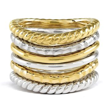 Sterling Silver & 14K Gold Plated Curved Band Stackable Ring Set