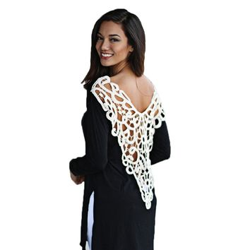Sexy Scoop Collar Long Sleeve Lace Work Color Block T-Shirt for Ladies
