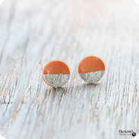 Earring Studs - Round Tangerine Silver Posts