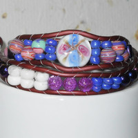 Beaded Wrap Bracelet, Faux brown leather, blue, purple, pink and white beads, gorgeous floral center focal, Romantic, Beach, Sanibel Island