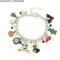 FANTASY UNIVERSE Free shipping 1pc a lot The Nightmare Before Christmas Charm Bracelet HRMEISA01