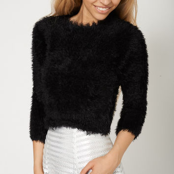 Super Soft Cropped Long Sleeve Black Fluffy Jumper Sweater