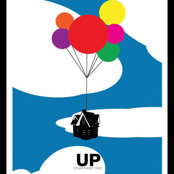 Up (Alternate Cloudy) - Disney Pixar Inspired - Movie Art Poster