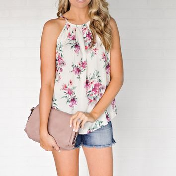 * Lewes Floral High Neck Tank With Button Down Back : Off White
