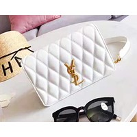 YSL Saint Laurent New fashion wild sheepskin flap clamshell shoulder messenger bag White