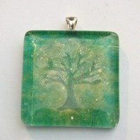 Shades of green polymer clay tree under glass