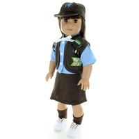 Doll Clothes Fits American Girl & Other 18 Inch Dolls Girl Scout Outfit Brown