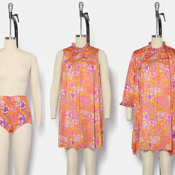 Vintage 60s 3pc Lingerie SET / 1960s Vanity Fair Bright Floral Nightgown Peignoir Robe & Girdle Panties