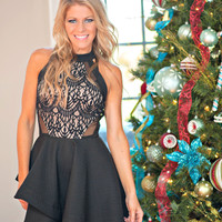 Classy And Fabulous Lace Halter Dress: Black