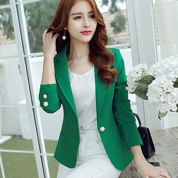 Women Blazer Plus Size Yellow Black Green Candy Color Single Button New Design Casual Suit Jacket Office Top Work Wear Coat