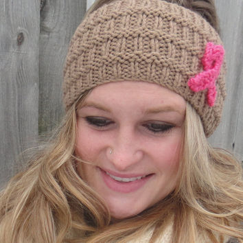 Breast Cancer Awareness Knitted Headband