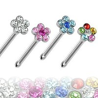 "316L Surgical Steel Nose Stud with Aqua Multi-Gem Paved Flower Top - 20G - 1/4"" Length - 4mm Ball Size - Sold Individually"