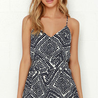 Lucy Love Penelope Navy Blue Print Romper