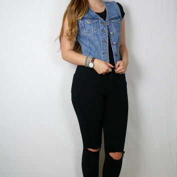 DENIM Crop VEST 90s // Small //