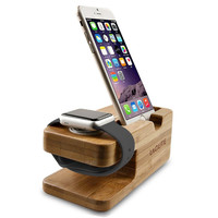 Lagute Bamboo Wood Watch Stand for Apple Watch Smart Android Watch Charging Platform Charging Stand Station