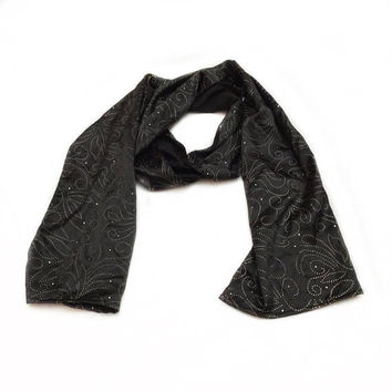 Sparkly black Scarves, Christmas gift idea under 20, Christmas present for Friends, Birthday gift for Sister in law, Black Neck Scarf