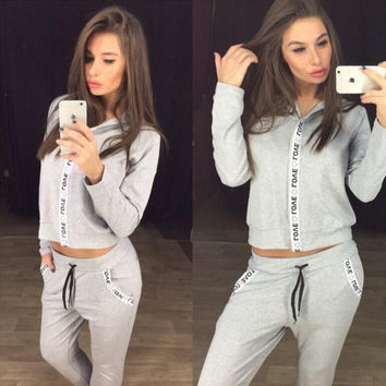 Hooded Letter Print Long Sleeve Sweatshirt with Drawstring Pants