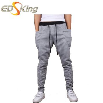 Cargo Pants Men Casual Joggers Drawstring  Baggy Drop Crotch Clothing Sweatpants Pantalon Homme