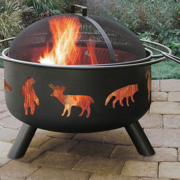 """30"""" Black Wildlife Cutout Fire Pit With Cooking Grate And Spark Screen"""