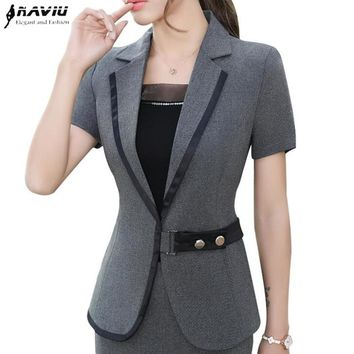 Summer Fashion formal women blazer Business New elegant short sleeve jackets office ladies plus size work uniforms Gray black