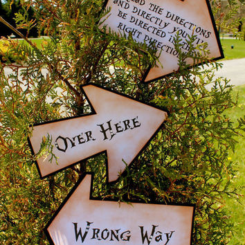 Vintage Inspired Alice in Wonderland Directional Signs - SET OF 3 SIGNS