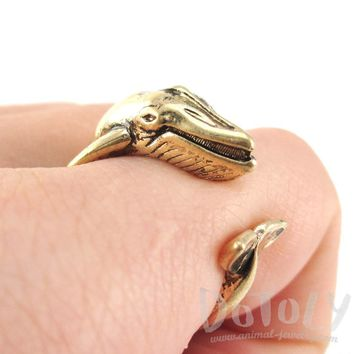 Humpback Whale Shaped Realistic Animal Wrap Ring in Shiny Gold | Size 3 to 8