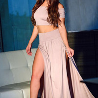 Apricot Sexy Off-shoulder Side Split two piece Skirt Set
