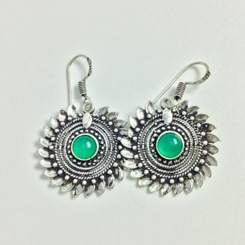 Tribal Green onyx Silver earrings