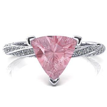Elysia Trillion Pink Sapphire 3 Prong 3/4 Eternity Diamond Accent Ring