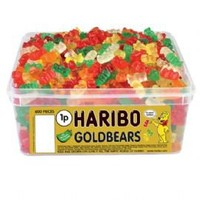 British Haribo Gold Bears  Gummy Bears  Tub Of 600 Pieces