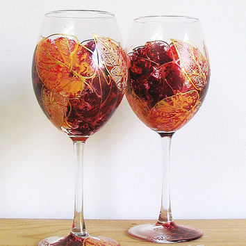 Set of 2 Hand Painted Wine Glasses- Autumn leaves, Wedding glasses, Birthday gift, Home decor, Gift for her, Mother's day gift, Floral