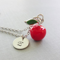 Apple Necklace, Best Teacher Gift, 3D Red Apple Charm, Enamel Charm, Silver Jewelry, Personalized, Monogram, Hand Stamped Letter Initial