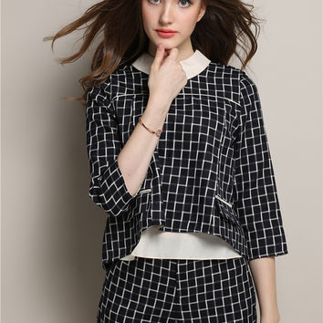 Plaid Pointed Flat Collar Half Sleeve Top with Shorts Set