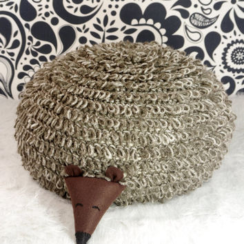 Crochet floor pillow. Hedgehog pillow.. Brown crochet floor pouf. Nursery footstool. Children's room decor. Gift idea for child.