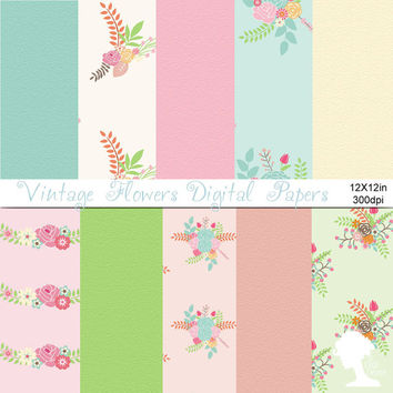 Digital Papers: Vintage Flowers Bouquets with Textured Papers in Pastel Pink, Mint Green, Peach, Green and Brown