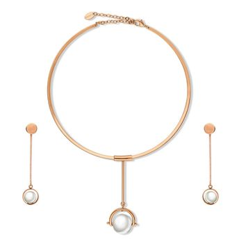 Rose Gold-Tone Simulated Pearl Ball Bead Open Circle Choker Necklace and Earrings SetBe the first to write a reviewSKU# vs508-03