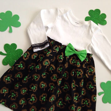 St. Patrick's Dress, St. Patty Outfit, Shamrock Onesuit Dress, St Patty Dress, St Patrick Baby