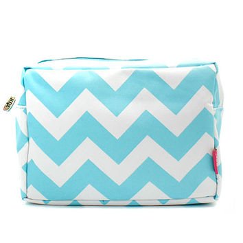 Aqua Chevron Zig Zag Large Cosmetic Bag Pouch Personalized Travel Bag Makeup Bag Birthday Teachers Gift