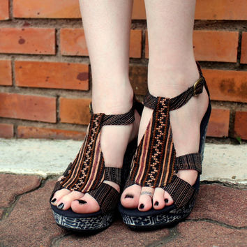 Womens Ethnic Shoe Brown Hmong Embroidery  With Indigo Batik Wedge Heel