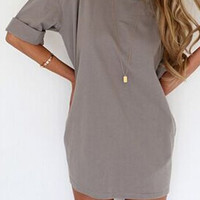 Gray Half Sleeve A-Line Summer Dress