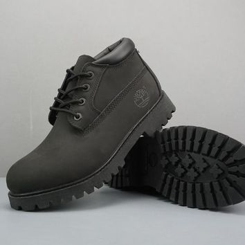 Timberland Leather Lace-Up Boot Low Black
