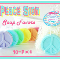 10 PEACE SIGN Soap Birthday Party Favor Pack - personalized label, glycerin, natural, scented, kids, gift wrapped, tie dyed, tween