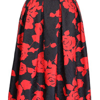 Black Rose Printed High Waist Midi Skirt