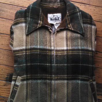 Vintage 70s Woolrich Jacket, Coat, Brown & Green Plaid Wool Zip Up Coat, Sherpa Lined, Men's Large